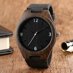 Cheap wristwatch black, Buy Quality wristwatch for men directly from China wristwatch band mens Suppliers: Classical Black Ebony Wooden Watch Nature Light Hand-made Bamboo Wristwatch with Genuine Leather Band for Men Relojes de madera Best Kids Watches, Cool Watches, Women's Watches, Casual Watches, Minimalist Clocks, Minimalist Style, Roman Noir, Wooden Watches For Men, Wood Watch