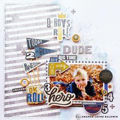 Boys Rule Layout by Amanda Baldwin for Pinkfresh Studio: Boys Fort DT blog hop