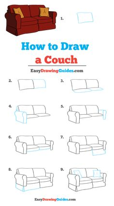 Learn to draw a couch. This step-by-step tutorial makes it easy. Kids and beginners alike can now draw a great couch. Cool Art Drawings, Pencil Art Drawings, Easy Drawings, Art Sketches, Object Drawing, Drawing Drawing, Drawing Tips, Architecture Concept Drawings, Interior Architecture Drawing