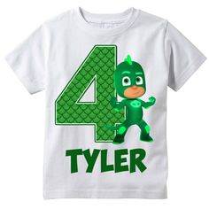 PJ Masks Gekko Personalized Birthday Shirt by BerryBestTees ALDEN NEEDS A CATBOY SHIRT!!!