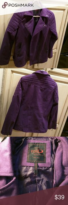 "Yoki jacket, asymmetrical zipper, purple 27"" long from the shoulder, royal purple, asymmetrically zipped,  banded hem, 2 zippered side pockets, zippered sleeves at wrists. 90%polyester, 10% wool. Quilting on upper outer sleeves. NWOT Yoki Jackets & Coats Pea Coats"