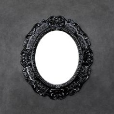 Ornate Black Mirror - Small Accent Mirror - Vintage Oval Mirror - General Plastica Italy by TheCherryAttic on Etsy