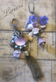 Boucles romantiques violet et bronze : Boucles d'oreille par lorenza