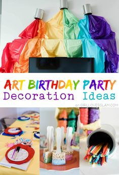 Art birthday party decorations don't need to be totally over the top. Instead, do a few things that make a huge statement! Easy birthday party decorations.