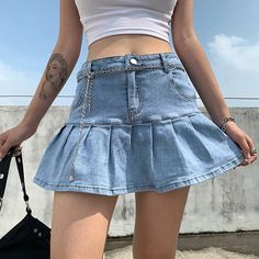 UNIT: CM S: Waist 66-74 cm; Hip 81-89 cm; Length 33 cm. M: Waist 70-78 cm; Hip 85-93 cm; Length 34 cm. L: Waist 74-82 cm; Hip 89-97 cm; Length 35 cm. Estimated shipping times North America: 2-3 weeks Europe: 1-3 weeks Australia, New Zealand and Oceania: 1-3 weeks Asia Pacific: 1-2 weeks Latin America and the Caribbean: 3-4 weeks Contact Information Please contact us by sending a message at YourUniqueWay or at youruniquewaycontact @gmail.com with any questions or concerns. Check out the rest of o Denim Skirt Outfits, Pleated Mini Skirt, Ruffle Skirt, Dress Skirt, Looks Cool, Korean Fashion, High Waisted Skirt, Waist Skirt, Harajuku