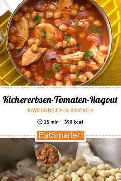 Blitz-Clean-Eating-Rezept: Kichererbsen-Tomaten-Ragout - mit Putenbrustfilet - kalorienarm - schnelles Rezept - einfaches Gericht - So gesund ist das Rezept: 9,5/10 | Eine Rezeptidee von EAT SMARTER | Stress, Wechseljahre, Putengeschnetzeltes, Ragout, Arabisch, Halbzeit-Rezepte, 15-Minuten-Rezepte, Was koche ich heute, für 2 Personen, Für jeden Tag, Schnelle Rezepte, Kochen, One-Pot, Geflügel, Pute, Gemüse, Gewürze, Mittagessen, Abendessen, Hauptspeise #hülsenfrüchte #gesunderezepte Healthy Fats, Healthy Recipes, Natural Yogurt, Balanced Meals, Nutritional Supplements, One Pot Meals, Eating Plans, Fruits And Veggies, Clean Eating