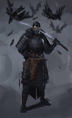 Dungeons & Dragons: Samurai, a Fighter archetype (inspirational) Fantasy Warrior, Fantasy Samurai, Samurai Concept, Fantasy Kunst, Dark Fantasy Art, Fantasy Artwork, Ninja Kunst, Arte Ninja, Fantasy Character Design