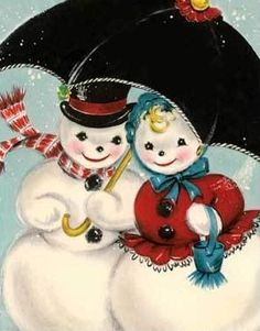vintage snowman and wife