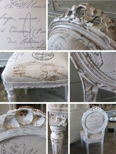 Additional pics of the French chair... I like how the woodwork is painted and distressed. BEAUTIFUL!