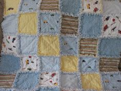 Rag Quilt.  Make it with sports or animal theme fabric.