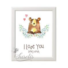 I love you beary much Woodland Bear printable by Suselis on Etsy