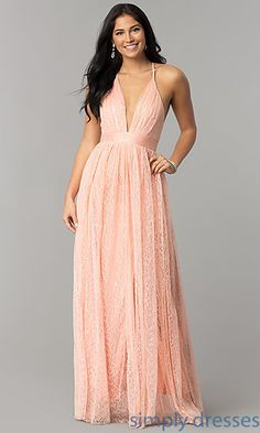 ec80f28e5ce Shop long lace prom dresses with double side slits at Simply Dresses.  Formal evening dresses