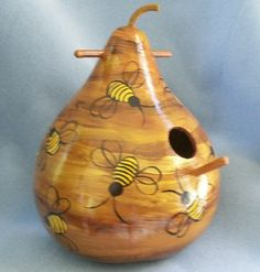 Bee Hive Art Gourd Bird House by HouseOfGourds on Etsy, $24.00