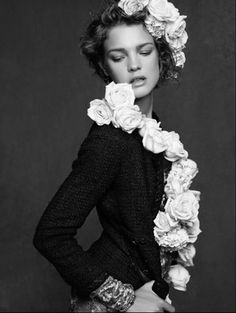 Natalia Vodianova in Chanel little black jacket, photographed by Karl Lagerfeld