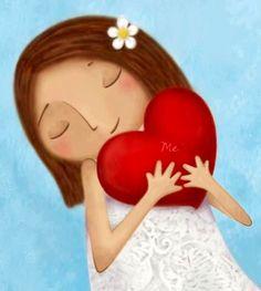 Girl with heart cartoon illustration via www.Facebook.com/GleamOfDreams