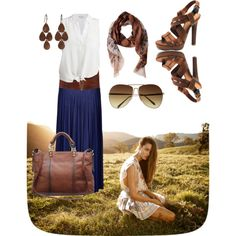 Navy maxi, white top, brown accessories