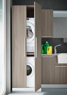 Vertical Laundry Room Is The Ultimate Space-Saver For Your Home – Virily Laundry Closet, Bathroom Closet, Laundry Room Storage, Laundry Room Design, Cupboard Storage, Laundry In Bathroom, Laundry Rooms, Shiplap Bathroom, Storage Rack