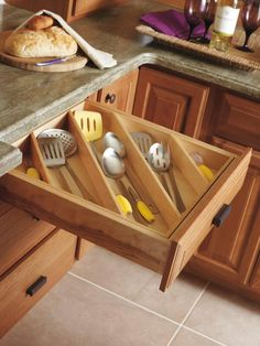 Diamond's Utensil Divider organizes even the most cluttered drawers in the #kitchen. The angled #insert design easily accommodates any utensils, including long-handled items such as turning spatulas and soup spoons. #DiamondRoomMakeover