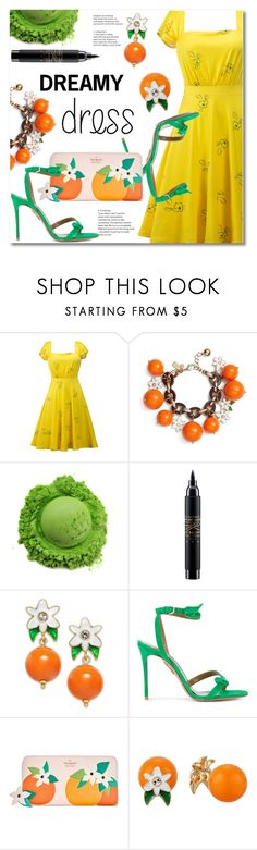 """""""Dreamy dress"""" by fshionme ❤ liked on Polyvore featuring Kate Spade, MAC Cosmetics, Aquazzura, vintage, festivalfashion and dreamydresses"""
