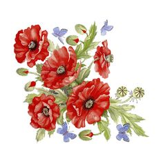 MYST~2 AP_RED POPPIES AND BUTTERFLIES.png ❤ liked on Polyvore featuring flowers