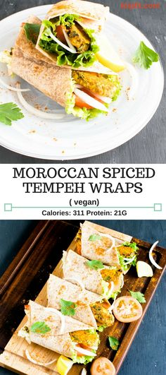 Spiced Tempeh Wraps are savory, spicy and easy meal. These vegan wraps are wholesome, hearty and filling with high content of protein + fiber. It's great for lazy weeknight dinners. The leftovers satisfy perfectly for lunch the next day [ Vegan + GF ] Vegan Lunch Recipes, Delicious Vegan Recipes, Healthy Recipes, Vegan Lunches, Simple Recipes, Vegan Meals, Amazing Recipes, Vegan Food, Vegan Main Dishes