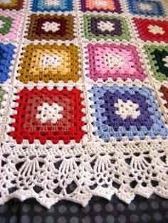 It's all in the details. Look at the edging on this granny square afghan. Makes all the difference!
