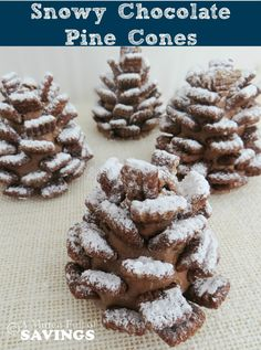This is a fun treat to make with the kids and eat too! Edible Snowy Chocolate Pine Cones