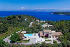 A prime location above Kassiopi. Kassiopi Corfu, Corfu Greece, Corfu Island, Luxury Villa, Villas, Mansions, House Styles, Water, Outdoor
