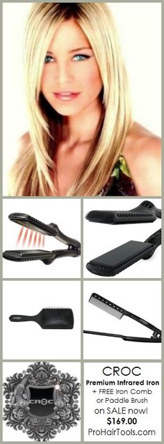 CROC Premium Infrared Flat Iron - our most popular iron is on SALE now $169 + FREE Shipping! #beautysupply #hair #salon @ ProHairTools.com
