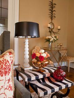 Fantastic Luxurious Classic Interior Using Classic Color Design : Fancy Sideboard With Zebra Motive Gold Vase Elegant Living Room