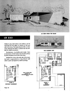 Mid century modern house plans for sale flat roofed mid century modern home plan university of small homes council floor plans for sale Modern House Floor Plans, Modern House Design, The Plan, How To Plan, House Plans For Sale, Mcm House, Tiny House, Vintage House Plans, Flat Roof