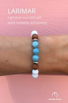 Larimar is often called the gemstone of serenity, known to promote relaxation and calm. #allkindsofkind #gemstonebracelets Allergy Free, Gemstone Bracelets, Sea Foam, Allergies, Serenity, Calm, Gemstones, Handmade, Jewelry