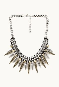 Eclectic Spiked Chain Necklace on Wanelo