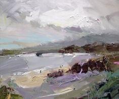 """Down at the #beach, a great #cloud came across just as I finished my swim... the first drops of summer #rain kept me nice and cool for the walk home. """"South Coast With Cloud"""", 35X45cm, oil on board #southcoast #NSW #australian #painting #artgallery #decor #wallart"""