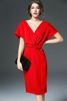 Side Slits Solid Color Short Sleeve Knee-Length Dress