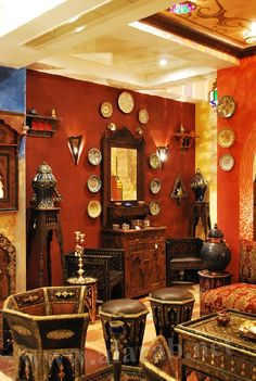 Moroccan color, color, color - love the furniture pieces