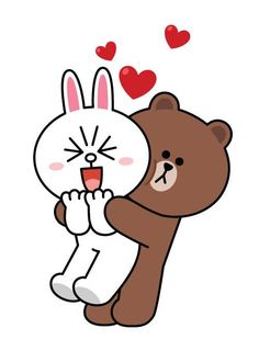 BROWN PIC is where you can find all the character GIFs, pics and free wallpapers of LINE friends. Come and meet Brown, Cony, Choco, Sally and other friends! Cute Couple Cartoon, Cute Love Cartoons, Bunny And Bear, My Teddy Bear, Cony Brown, Brown Bear, Line Cony, Bear Gif, Naughty Emoji