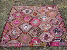 TURKISH HANDWOVEN RUG   Enbroidered Kilim handwoven old kilim for floor  Floor rug Anatolian Turkish rug from van area rug kilim Washed celan and