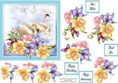 This design of swans and flowers comes with one base layer, seven step by step pieces and four assorted sentiment tags. Thank you for looking at my design. Please take a moment to look at my other designs by clicking on my name. Enjoy.
