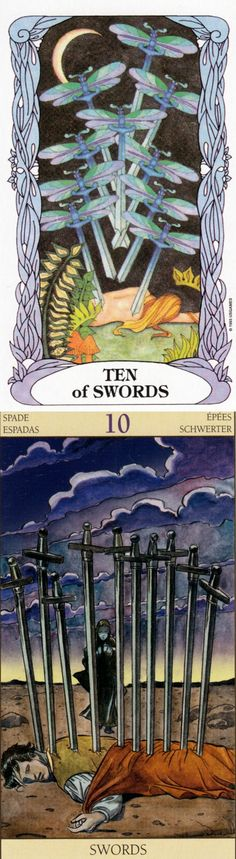 Ten of Swords: betrayal and revival (reverse). Moon garden Tarot deck and New Vision Tarot deck: yes no tarot reading, one card tarot reading and tarot keychain. New magic tricks and paganism. #ios #thestar # #devil