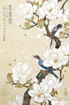 WINTERBERRY Japanese Artwork, Japanese Painting, Korean Painting, Botanical Art, Botanical Illustration, Watercolor Illustration, Tatto Floral, Image Zen, Chinese Painting Flowers