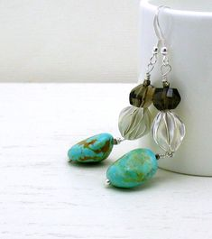Turquoise Sterling Silver Topaz Earrings / by cooljewelrydesign, $52.00