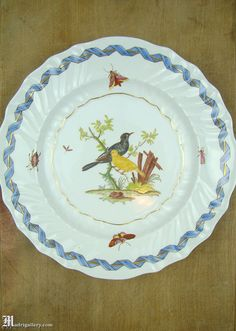 Antique Meissen porcelain bird plate, hand painted birds and insects, Meissen crossed swords mark at back. Measures about 10 diameter. Condition is excellent with only age-appropriate wear, which may include glaze craquelure, discolor, and discreet surface abrasions with small paint losses and/or rubbing of gilded details. As with all vintage and antique items, please expect the subtle signs of wear and/or man-made irregularity that is the hallmark and authentication of aged and han...