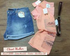 Look Closet Mulher  Shorts jeans, top e acessórios  www. Facebook/closetmulher.com
