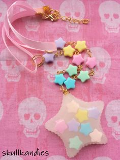 Fairy kei kawaii pastel stars resin pendant necklace with beaded chain and ribbon