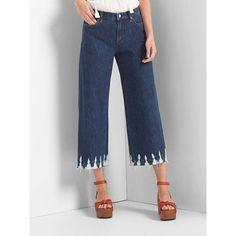 Gap Women High Rise Wide Leg Shibori Jeans ($80) ❤ liked on Polyvore featuring jeans, dark indigo, petite, petite jeans, high waisted jeans, petite wide leg jeans, high-waisted jeans and high rise wide leg jeans