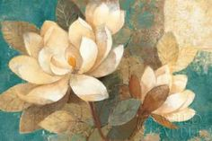 Tangletown Fine Art 'Turquoise Magnolias' by Albena Hristova Painting Print on Wrapped Canvas Magnolia, Painting Prints, Fine Art Prints, Art Decor, Decoration, Kunst Poster, Wall Art For Sale, Canvas Artwork, Turquoise