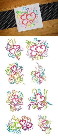 Our Swirly Hearts design set contains 8 beautiful and whimsical hearts with swirls and curls. Great for Valentine's Day or any day! Available for instant download at designsbyjuju.com