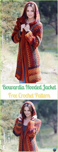 Crochet Bouvardia Hooded Jacket Free Pattern - Crochet Women Sweater Coat & Cardigan Free Patterns