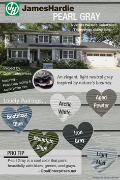 Pearl Gray James Hardie Siding Inspiration Graphic - Home Siding Exterior Siding Options, Exterior House Siding, Grey Siding, Hardie Plank Colors, Siding Colors, Exterior Paint Colors, Home Improvement Financing, James Hardie, House Colors
